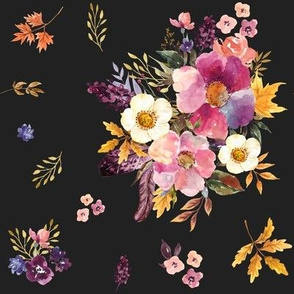 "8"" Fall Friends Basic Florals - Black"