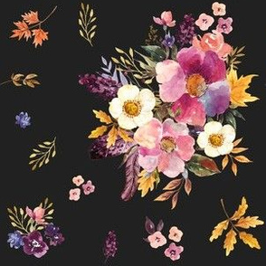 "6"" Fall Friends Basic Florals - Black"
