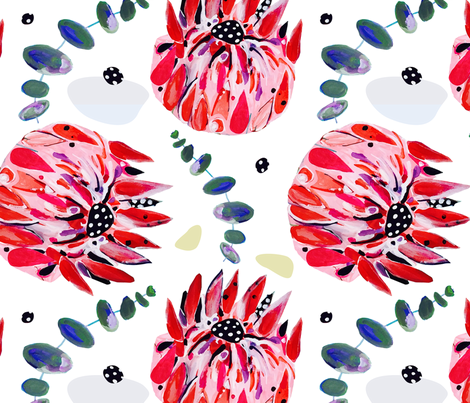 Waratahs // Australian wild flowers red floral protea eucalyptus leaves fabric by mountvicandme on Spoonflower - custom fabric