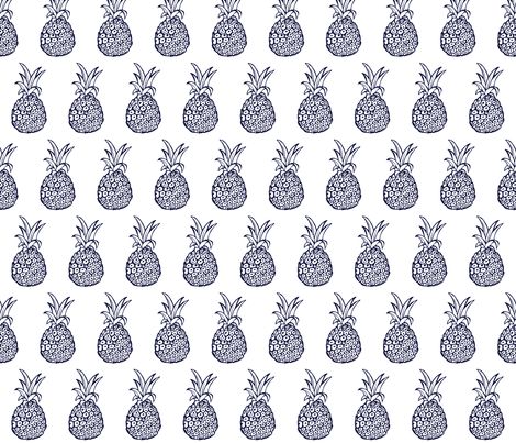 Pineapple Party Print in Navy and White fabric by theartwerks on Spoonflower - custom fabric
