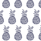 Pineapple Party Print in Navy and White