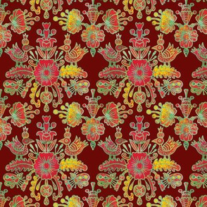 Scandinavian birds and flowers in red