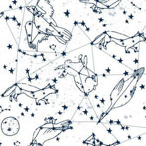 constellations //navy and white night stars bright dream animals kids nursery print