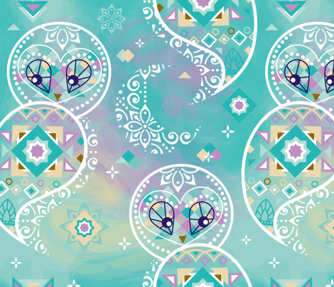 boho-chouette fabric by elodie-lauret on Spoonflower - custom fabric