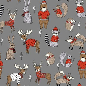Woodland christmas animals fabric bear fox deer raccoon grey red
