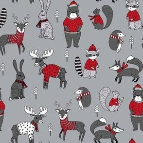 Woodland christmas animals fabric bear fox deer raccoon grey