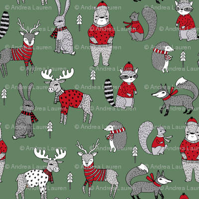 Woodland Christmas Animals Fabric Bear Fox Deer Raccoon