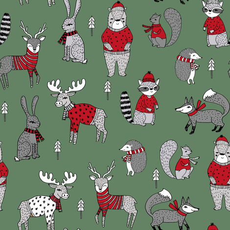 Woodland christmas fabric - animals fabric bear fox deer raccoon medium green fabric by andrea_lauren on Spoonflower - custom fabric