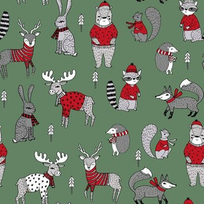 Woodland christmas animals fabric bear fox deer raccoon medium green