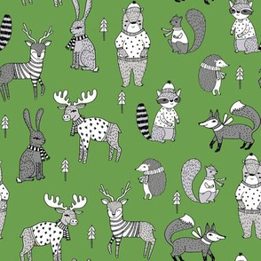 Woodland christmas animals fabric bear fox deer raccoon green