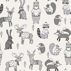 Woodland christmas animals fabric bear fox deer raccoon lite