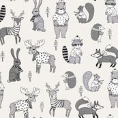 Woodland christmas animals fabric bear fox deer raccoon lite