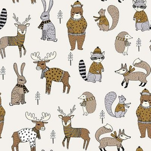 Woodland christmas animals fabric bear fox deer raccoon neutral