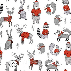 Woodland christmas animals fabric bear fox deer raccoon red grey