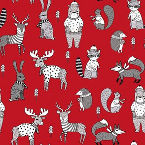 Woodland christmas animals fabric bear fox deer raccoon red