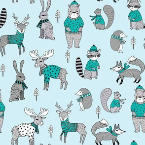 Woodland christmas animals fabric bear fox deer raccoon winter blue