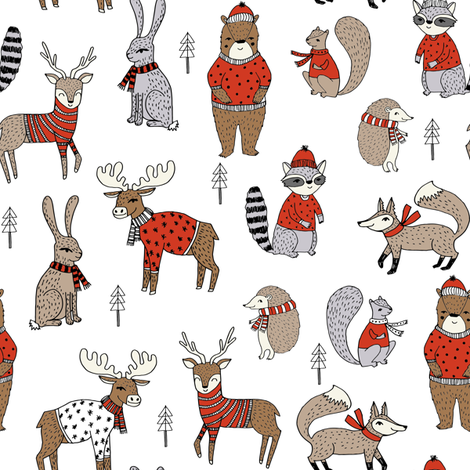 Woodland christmas animals fabric bear fox deer raccoon white red fabric by andrea_lauren on Spoonflower - custom fabric