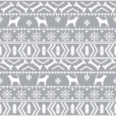 Bloodhound fair isle christmas dog breed fabric grey fabric ...