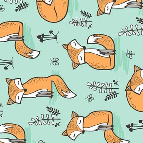 Dreamy Fox in Bay Mint Green Rotated
