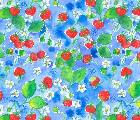 Strawberries Blue fabric by countrygarden on Spoonflower - custom fabric
