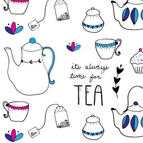 Tea Party Pattern / it's always time for tea / teapot / cupcake / cursive