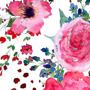 Wild Flowers Poppies Roses Fushia