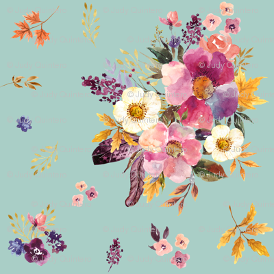 "6"" Fall Friends Basic Florals - Blue"