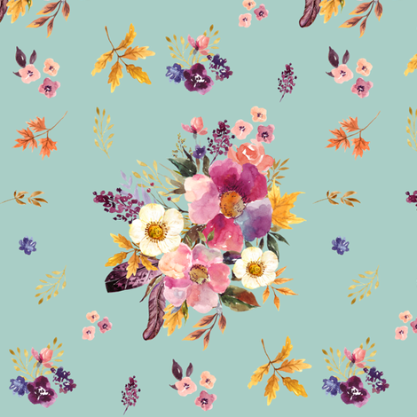 """6"""" Fall Friends Basic Florals - Blue fabric by shopcabin on Spoonflower - custom fabric"""