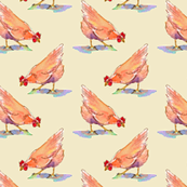 hen-pecked watercolor chickens