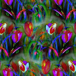 NIGHT_BRIGHT_TULIP_FIELD_1_GREEN_YELLOW_BY_PAYSMAGE