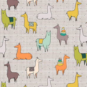 Ohh La Llama Green with mustard yellow