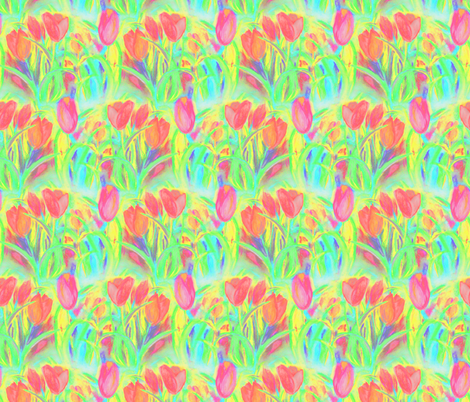 SPRINGTIME TULIP FIELD ROWS GREEN CORAL fabric by paysmage on Spoonflower - custom fabric