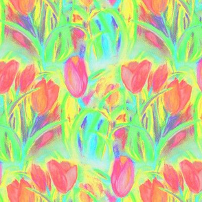 SPRINGTIME TULIP FIELD ROWS GREEN CORAL