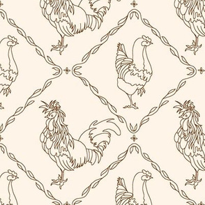 rooster and hen toile - brown