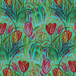 ANTIQUE TULIP FIELD ROWS TEAL MINT RED