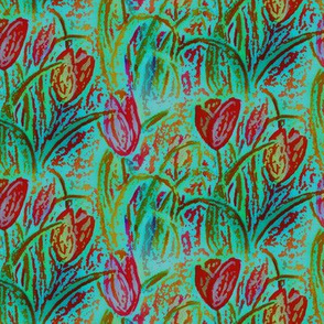 ANTIQUE TULIP FIELD BOUQUET TEAL MINT RED