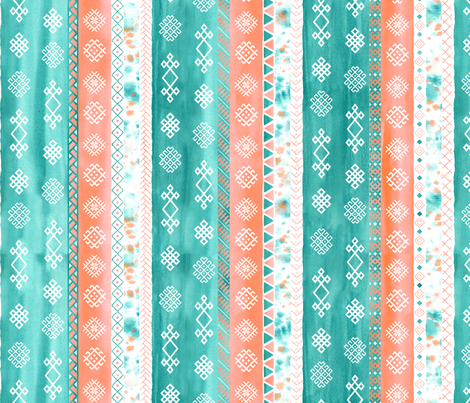 Baltic Bohemian Gypsy Coral Teal fabric by wickedrefined on Spoonflower - custom fabric