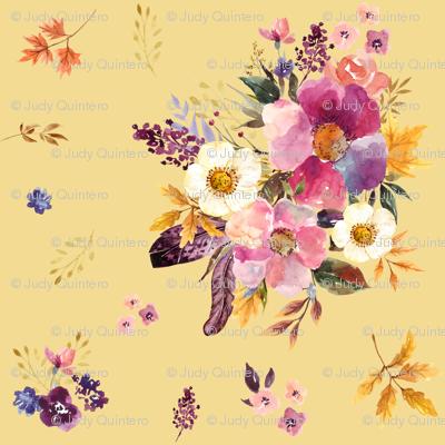 """18"""" Fall Friends Basic Florals - Mustard"""