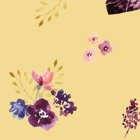 """18"""" Fall Friends Basic Florals - Mustard fabric by shopcabin on Spoonflower - custom fabric"""