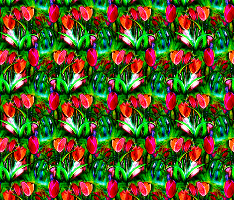 VIBRANT RED GREEN TULIP FIELDS ROWS fabric by paysmage on Spoonflower - custom fabric