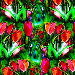VIBRANT RED GREEN TULIP FIELDS ROWS