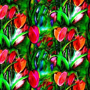 VIBRANT RED GREEN BOUQUET TULIP FIELD