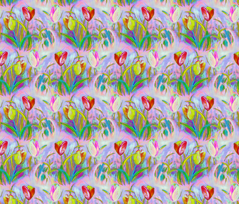 BRIGHT TULIPS FIELDS ROWS MAUVE SPRINTIME fabric by paysmage on Spoonflower - custom fabric