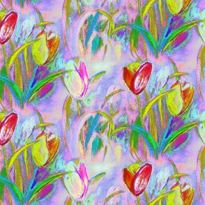 BRIGHT TULIPS FIELDS BOUQUET MAUVE SPRINTIME