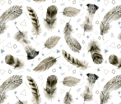 Boho Feathers fabric by torysevas on Spoonflower - custom fabric