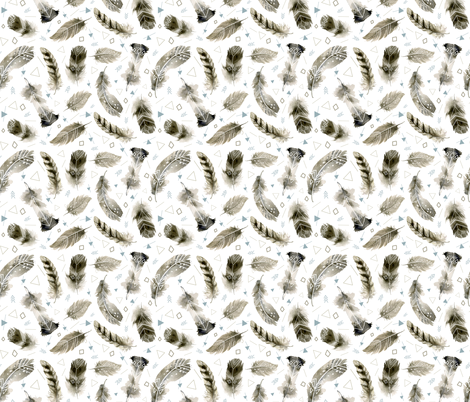 Boho Feathers fabric by torysevas on Spoonflower - custom fabric