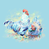 watercolor chicken pair - aqua sky