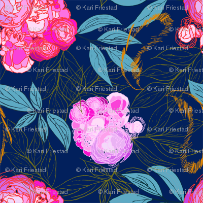 Peonies and Feathers