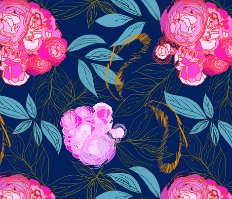 Peonies and Feathers fabric by karifriestadstudio on Spoonflower - custom fabric