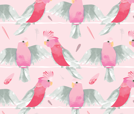 Pink Galahs // Australian birds pink grey parrot cockatoo feathers fabric by mountvicandme on Spoonflower - custom fabric